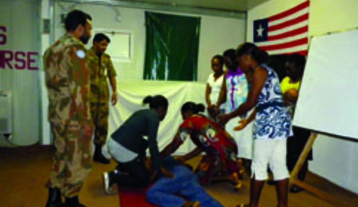 Pak Med Trains Tubman University Students in Basic Life Support | UNMIL
