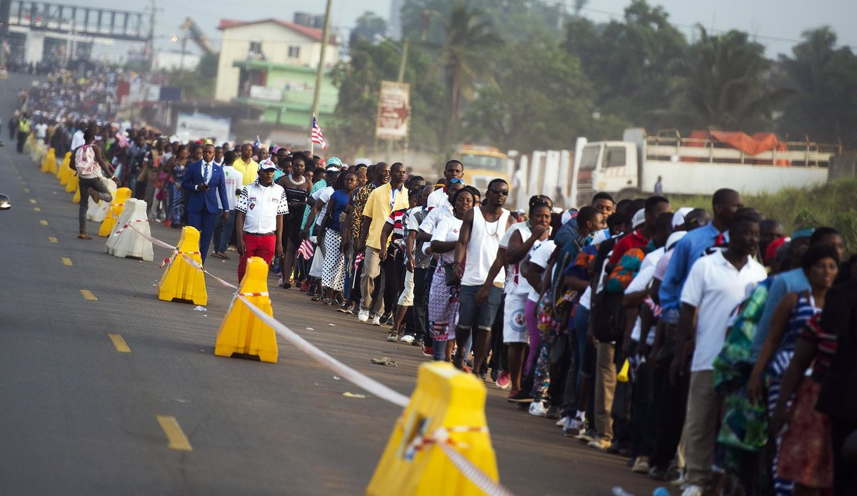22 January 2018. Monrovia: Crowds of people queue to attend the Liberia Presidential Inauguration at the Samuel Canyon Doe Sports Complex in Monrovia, Liberia.