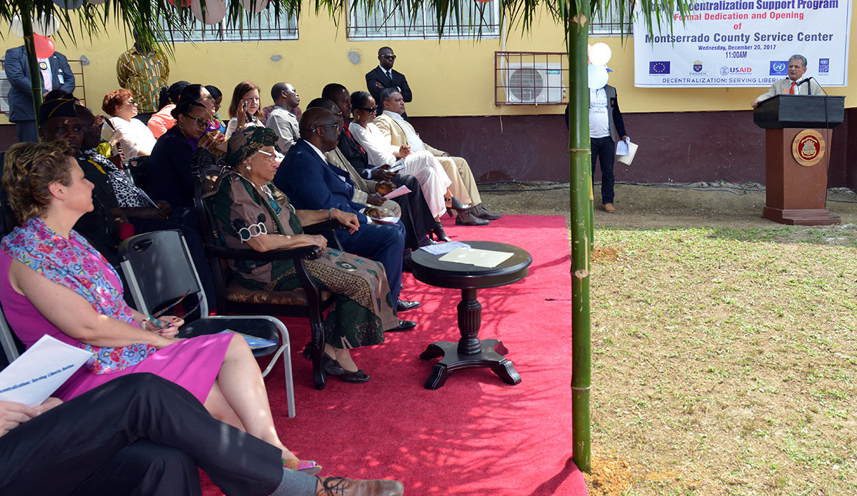 Special Representative of the Secretary-General and Head of UNMIL, Farid Zarif after addressing the attendants at the formal opening of the Monsterrado County Service Center in Bentol City.