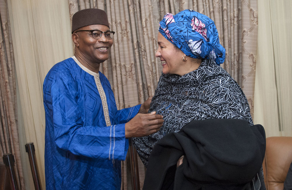 21 March 2018. Monrovia: (Right) The United Nations Deputy Secretary General,  Amina J. Mohammed, greets the (left) Special Representative and Head of the United Nations Office for West Africa and the Sahel (UNOWAS), Mohammed Ibn Chambas, at her arrival at the Roberts International Airport in Harbel, Liberia. Amina J. Mohammed is visiting the country to attend the celebrations of the completion of the UNMIL Mandate. Photo by Albert Gonzalez Farran - UNMIL