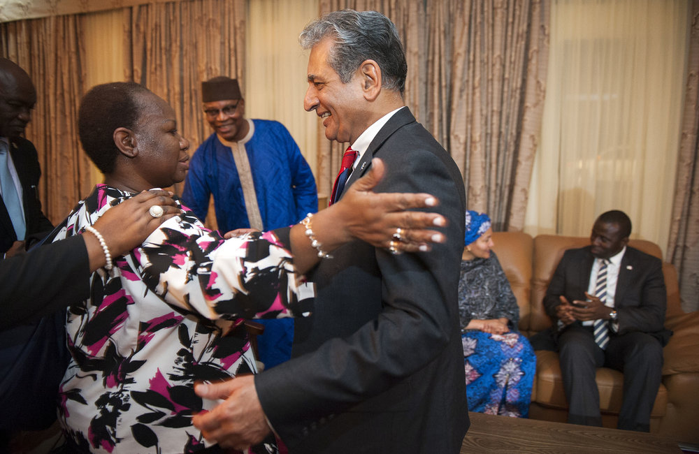 21 March 2018. Monrovia: (Right) The Special Representative of the Secretary-General and Head of UNMIL, Farid Zarif, greets (left) the Assistant Secretary-General for Peacekeeping Operations, Bintou Keita, at her arrival at the Roberts International Airport in Harbel, Liberia. Ms. Keita accompanies the UN Deputy Secretary General, Amina J. Mohammed, in her visit to the country to attend the celebrations of the completion of the UNMIL Mandate. Photo by Albert Gonzalez Farran - UNMIL