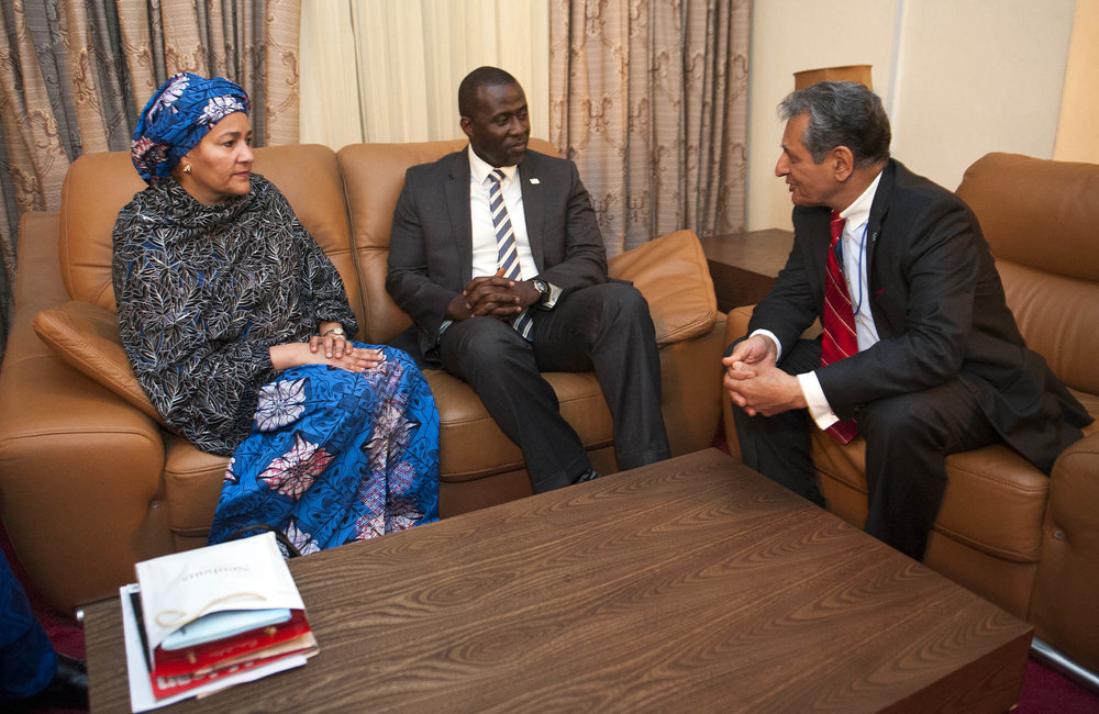 21 March 2018. Monrovia: (Left to right) The United Nations Deputy Secretary General,  Amina J. Mohammed, the acting Minister of Foreign Affair of Liberia, Elias B. Shoniyi, and the Special Representative of the Secretary-General and Head of UNMIL, Farid Zarif, meet at the Roberts International Airport in Harbel, Liberia. Amina J. Mohammed is visiting the country to attend the celebrations of the completion of the UNMIL Mandate. Photo by Albert Gonzalez Farran - UNMIL