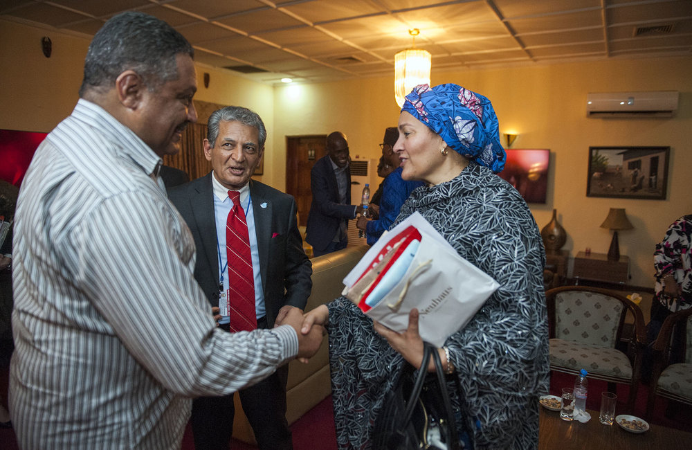 21 March 2018. Monrovia: (Right) The United Nations Deputy Secretary General,  Amina J. Mohammed, greets (centre) the Special Representative of the Secretary-General and Head of UNMIL, Farid Zarif, and his deputy and UN Resident Coordinator, Yacoub El Hillo, at her arrival at the Roberts International Airport in Harbel, Liberia. Amina J. Mohammed is visiting the country to attend the celebrations of the completion of the UNMIL Mandate. Photo by Albert Gonzalez Farran - UNMIL