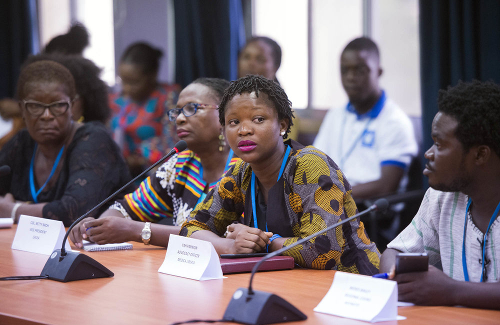 22 March 2018. Monrovia: Representatives of Liberian youth and women organizations meet (out of the picture) the United Nations Deputy Secretary General,  Amina J. Mohammed, at the UNMIL headquarters in Monrovia, Liberia.. Amina J. Mohammed is visiting the country to attend the celebrations of the completion of the UNMIL Mandate. Photo by Albert Gonzalez Farran - UNMIL