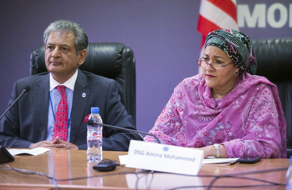 22 March 2018. Monrovia: (Left to right) The Special Representative of the Secretary-General and Head of UNMIL, Farid Zarif, and the United Nations Deputy Secretary General, Amina J. Mohammed, meet the representatives of Liberian youth and women organizations at the UNMIL headquarters in Monrovia, Liberia.. Amina J. Mohammed is visiting the country to attend the celebrations of the completion of the UNMIL Mandate. Photo by Albert Gonzalez Farran - UNMIL