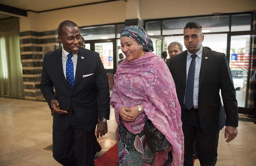 22 March 2018. Monrovia: (Center) The United Nations Deputy Secretary General,  Amina J. Mohammed, accompanied by (left) the acting Minister of Foreign Affair of Liberia, Elias B. Shoniyi, arrives at the Ministry of Foreign Affairs in Monrovia, Liberia, to meet the President of the Republic, George Weah. Amina J. Mohammed is visiting the country to attend the celebrations of the completion of the UNMIL Mandate. Photo by Albert Gonzalez Farran - UNMIL