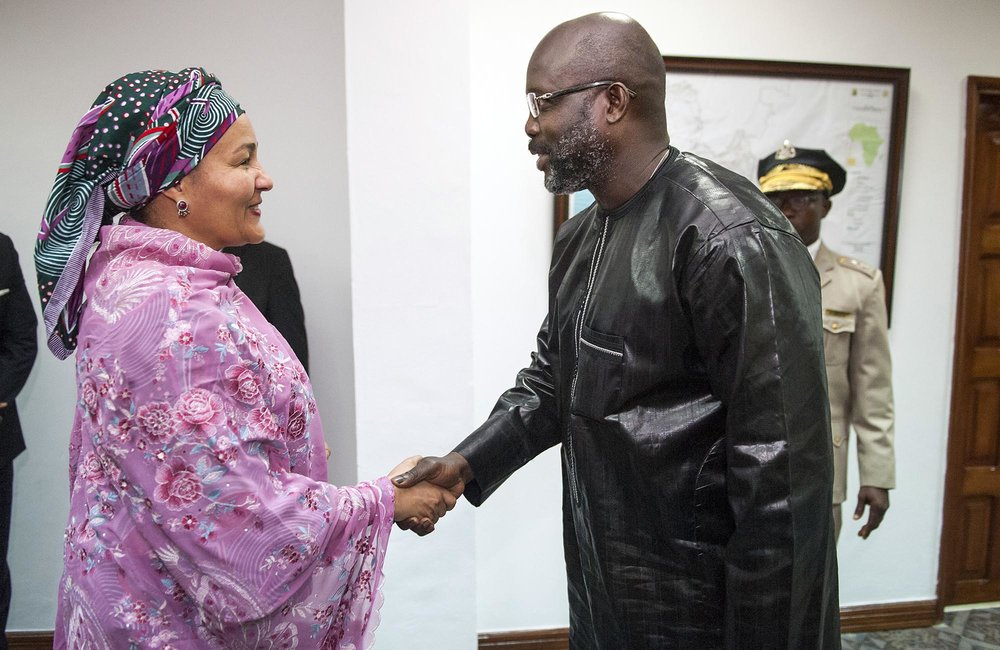 22 March 2018. Monrovia: (Left) The United Nations Deputy Secretary General,  Amina J. Mohammed, meets (right) the President of the Republic of Liberia, George Weah, at the Ministry of Foreign Affairs in Monrovia, Liberia. Amina J. Mohammed is visiting the country to attend the celebrations of the completion of the UNMIL Mandate. Photo by Albert Gonzalez Farran - UNMIL