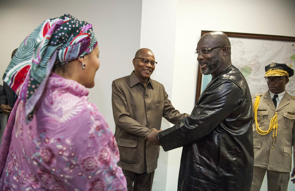 22 March 2018. Monrovia: (Center) The Special Representative and Head of the United Nations Office for West Africa and the Sahel (UNOWAS), Mohammed Ibn Chambas, greets (right) the President of the Republic of Liberia, George Weah, next to (left) the United Nations Deputy Secretary General,  Amina J. Mohammed, at the Ministry of Foreign Affairs in Monrovia, Liberia. Amina J. Mohammed is visiting the country to attend the celebrations of the completion of the UNMIL Mandate. Photo by Albert Gonzalez Farran - U