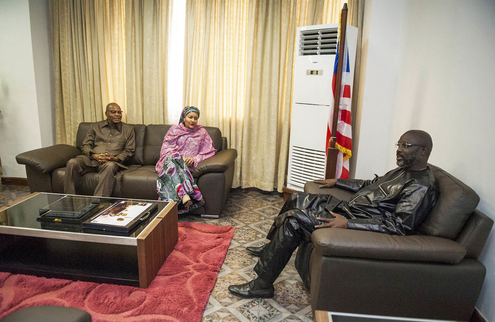 22 March 2018. Monrovia: (Left to right) The Special Representative and Head of the United Nations Office for West Africa and the Sahel (UNOWAS), Mohammed Ibn Chambas, and the United Nations Deputy Secretary General,  Amina J. Mohammed, meet with the President of the Republic of Liberia, George Weah, at the Ministry of Foreign Affairs in Monrovia, Liberia. Amina J. Mohammed is visiting the country to attend the celebrations of the completion of the UNMIL Mandate. Photo by Albert Gonzalez Farran - UNMIL