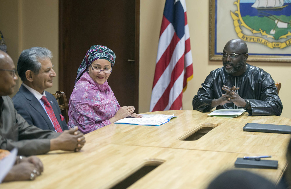 22 March 2018. Monrovia: (right) the President of the Republic of Liberia, George Weah, meets (centre) the United Nations Deputy Secretary General,  Amina J. Mohammed, and other UN seriors at the Ministry of Foreign Affairs in Monrovia, Liberia. Amina J. Mohammed is visiting the country to attend the celebrations of the completion of the UNMIL Mandate. Photo by Albert Gonzalez Farran - UNMIL