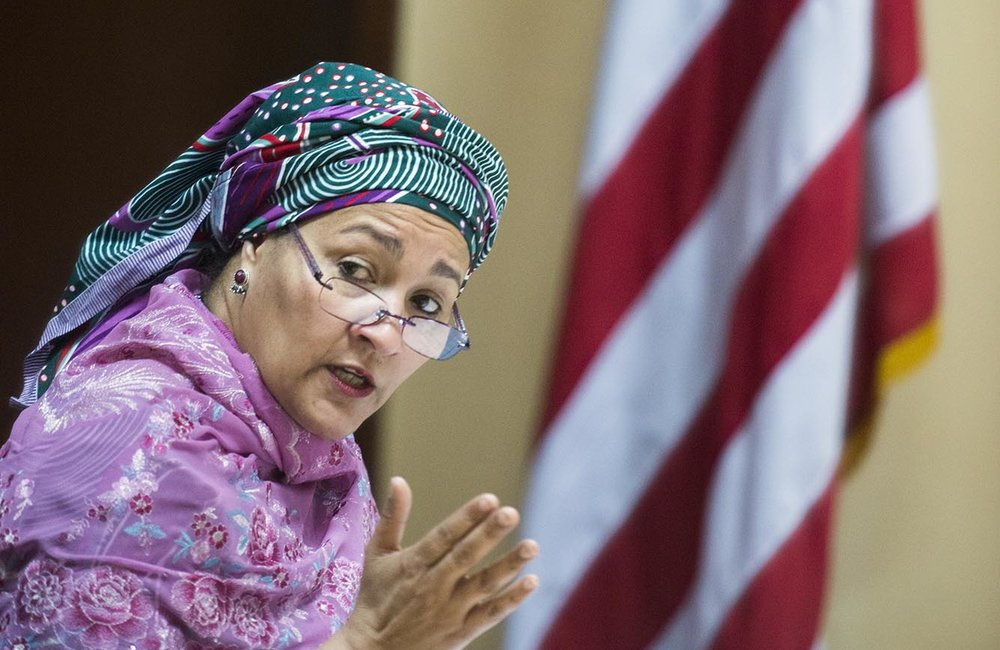 22 March 2018. Monrovia: The United Nations Deputy Secretary General,  Amina J. Mohammed, talks during her meeting with (out of the picture) the President of the Republic of Liberia, George Weah, at the Ministry of Foreign Affairs in Monrovia, Liberia. Amina J. Mohammed is visiting the country to attend the celebrations of the completion of the UNMIL Mandate. Photo by Albert Gonzalez Farran - UNMIL