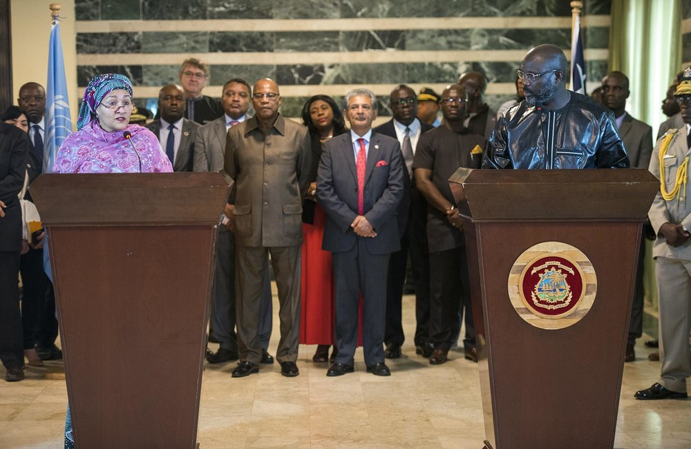 22 March 2018. Monrovia: (Left to right) The United Nations Deputy Secretary General,  Amina J. Mohammed, and the President of the Republic of Liberia, George Weah, attend the media at the Ministry of Foreign Affairs in Monrovia, Liberia. Amina J. Mohammed is visiting the country to attend the celebrations of the completion of the UNMIL Mandate. Photo by Albert Gonzalez Farran - UNMIL