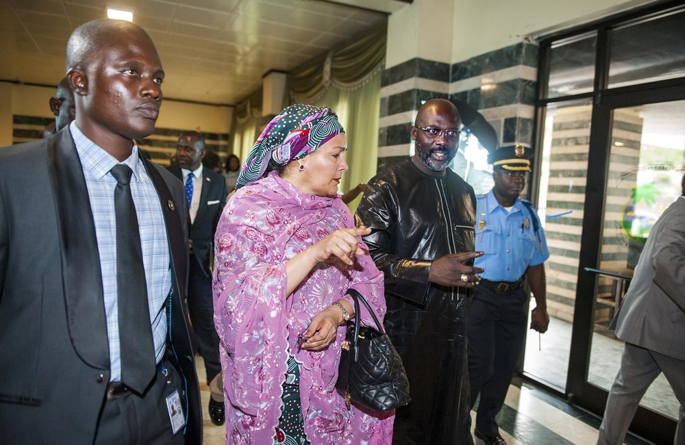22 March 2018. Monrovia: (Center) The United Nations Deputy Secretary General,  Amina J. Mohammed, walks with (right) the President of the Republic of Liberia, George Weah, after their meeting at the Ministry of Foreign Affairs in Monrovia, Liberia. Amina J. Mohammed is visiting the country to attend the celebrations of the completion of the UNMIL Mandate. Photo by Albert Gonzalez Farran - UNMIL