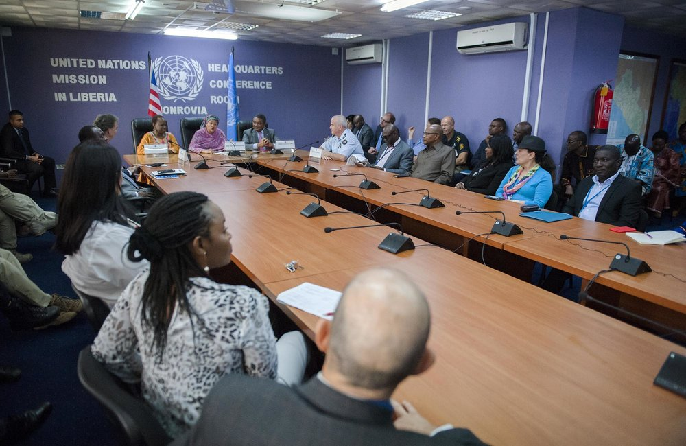 22 March 2018. Monrovia: (Left to right, background) The Assistant Secretary-General for Peacekeeping Operations, Bintou Keita, the United Nations Deputy Secretary General, Amina J. Mohammed, and the UN Resident Coordinator, Yacoub El Hillo, attend a town hall meeting with UNMIL staff at the UNMIL headquarters in Monrovia, Liberia.. Amina J. Mohammed is visiting the country to attend the celebrations of the completion of the UNMIL Mandate. Photo by Albert Gonzalez Farran - UNMIL
