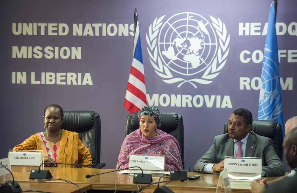 22 March 2018. Monrovia: (Left to right) The Assistant Secretary-General for Peacekeeping Operations, Bintou Keita, the United Nations Deputy Secretary General, Amina J. Mohammed, and the UN Resident Coordinator, Yacoub El Hillo, attend a town hall meeting with UNMIL staff at the UNMIL headquarters in Monrovia, Liberia.. Amina J. Mohammed is visiting the country to attend the celebrations of the completion of the UNMIL Mandate. Photo by Albert Gonzalez Farran - UNMIL