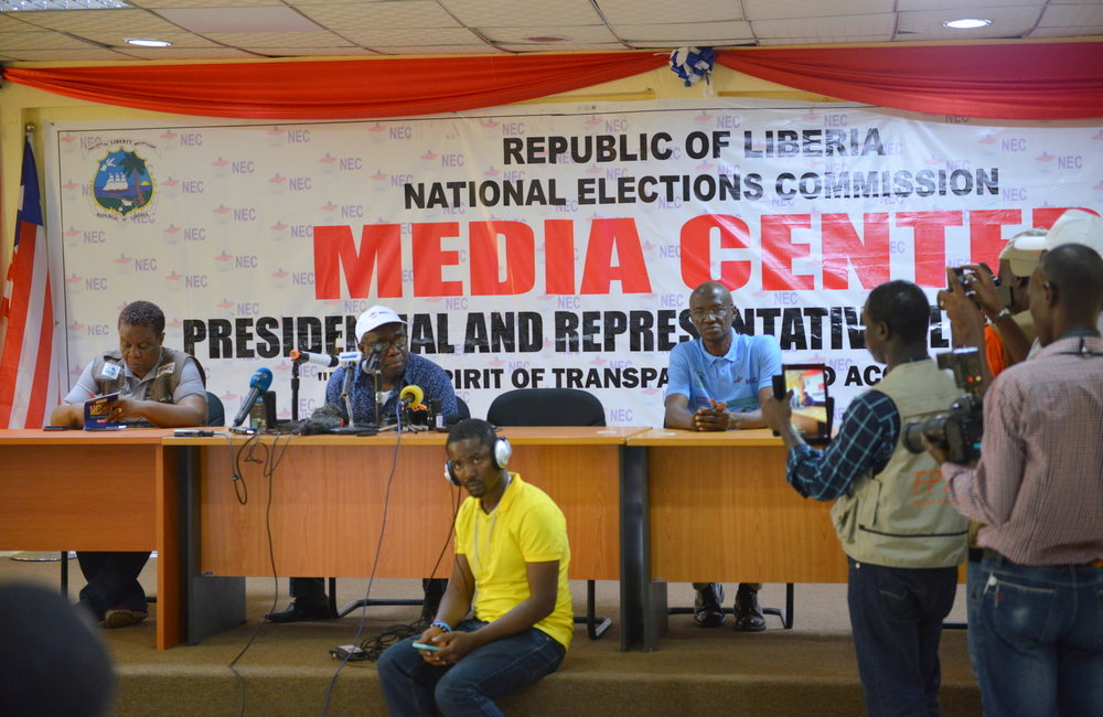 10 October 2017, Monrovia – NECs first press briefing at 15:00 on the day of the Presidential and House of Representative Elections 2017. ©UNMIL Photo: K. Leigh Robinson
