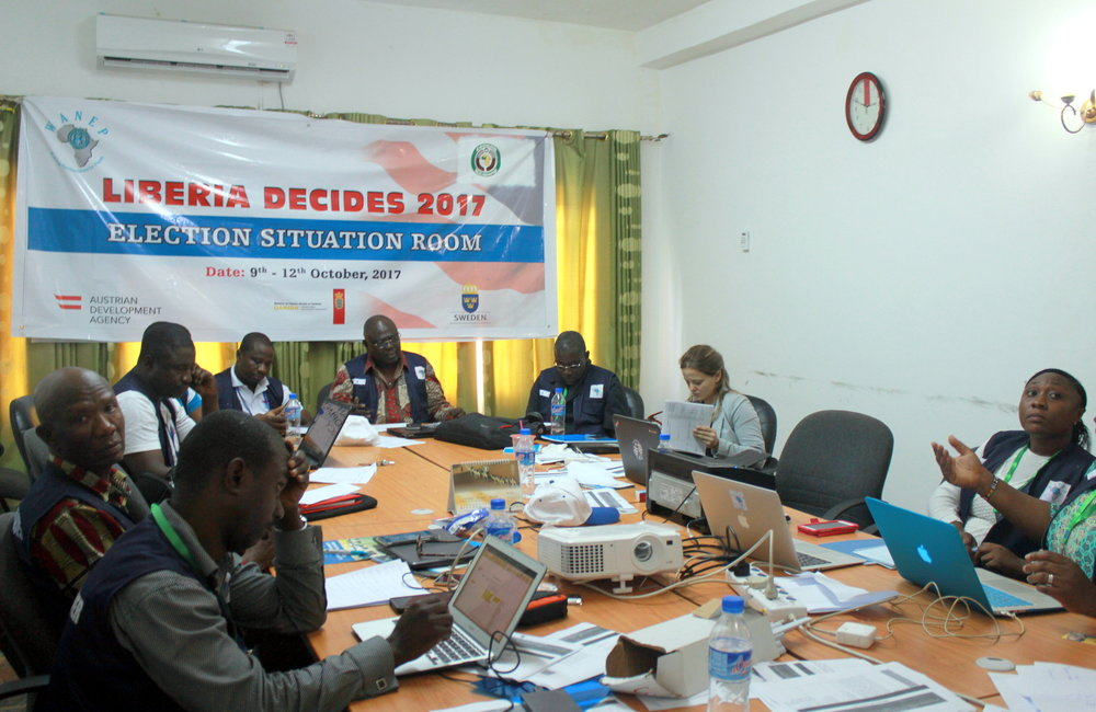 10 October 2017, Monrovia – ECOWAS Election Situation Room on the day of the Presidential and House of Representative Elections 2017. ©UNMIL Photo: Carla Feriguetti