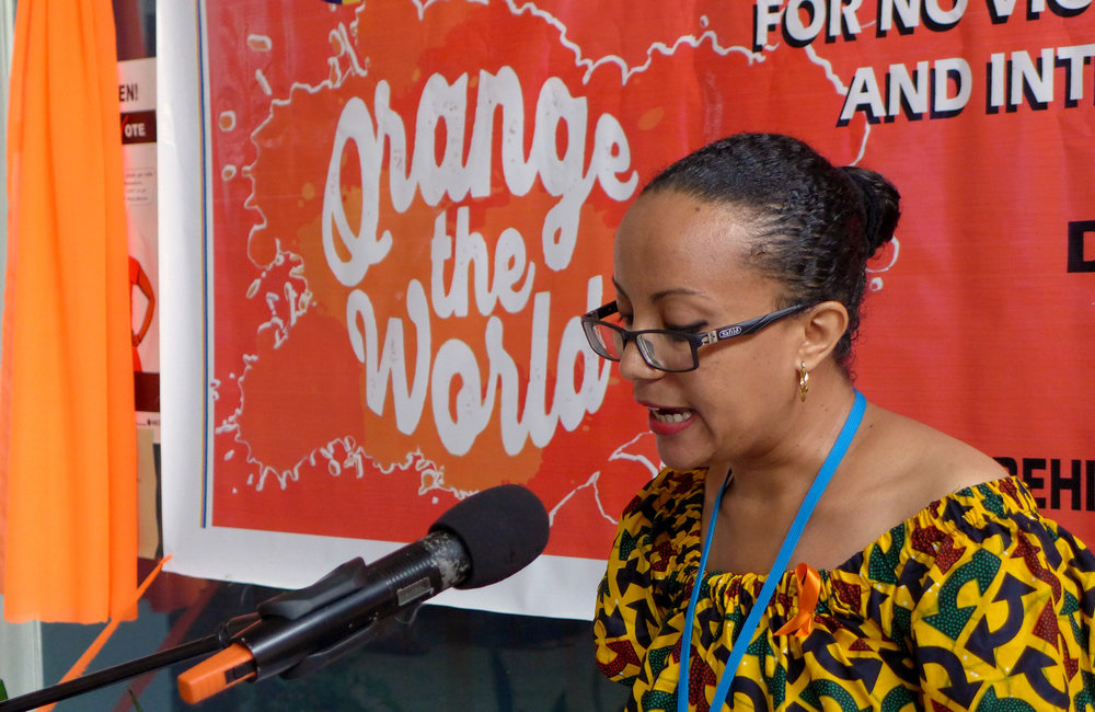 Tikel Alemu, UN Women representative delivering remarks on 16 days of activism for no violence against women & children and Human Rights day ©UNMIL Photo: Shpend Berbatovci