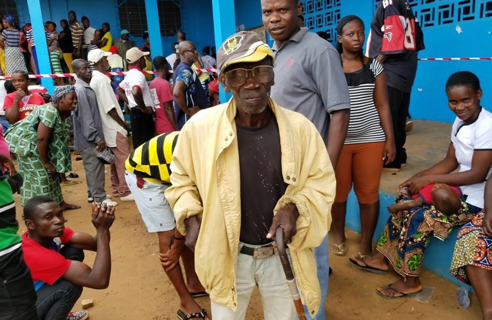 10 October 2017, Zwedru – 87-year-old John Flomo, a third time post-war Liberian voter on the day of the Presidential and House of Representative Elections 2017.  ©UNMIL Photo: Osman Sankoh