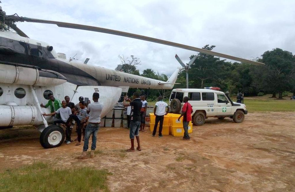 UNMIL assisting NEC on airlifting voting material in remote areas of Liberia in support to the Presidential and House of Representative Elections 2017. ©UNMIL Photo: UNMIL Aviation Unit