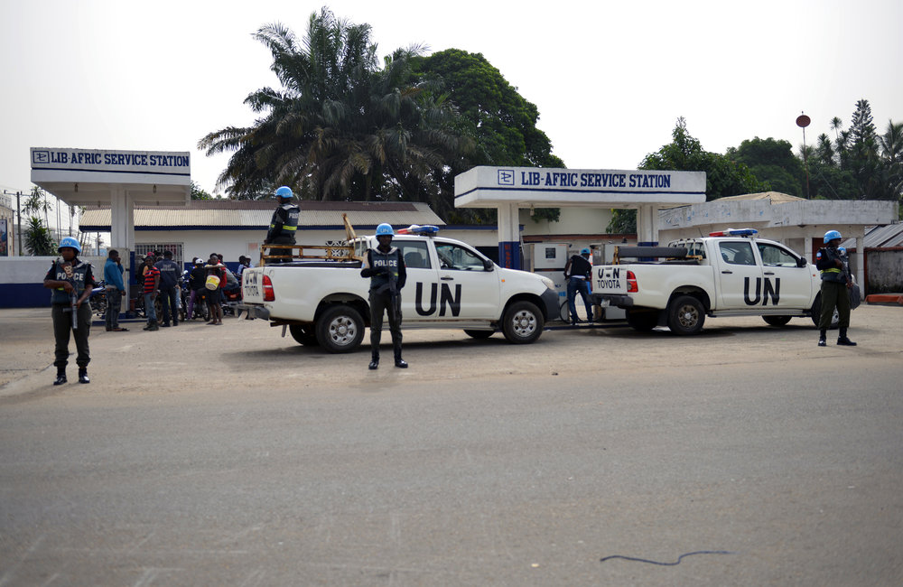 26 December 2017, Presidential Runoff Election UNMIL Peacekeepers patrolling the streets of Monrovia. ©UNMIL Photo: Shpend Berbatovci