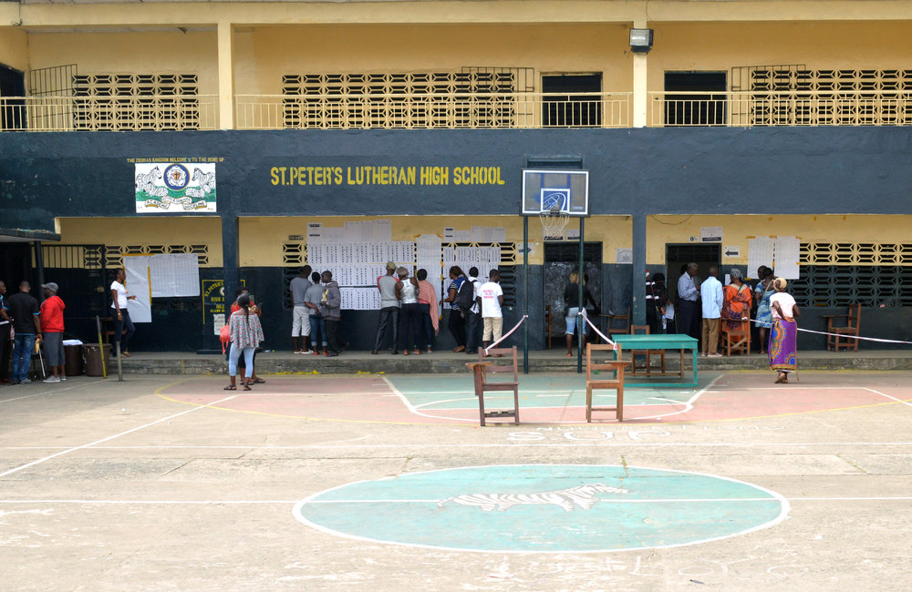 26 December 2017, Presidential Runoff Election Voters at a St. Peter Lutheran High School voter precinct.  ©UNMIL Photo: Shpend Berbatovci