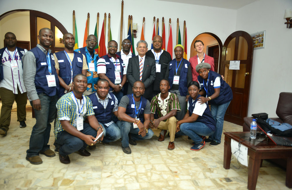 26 December 2017, Presidential Runoff Election Special Representative of the Secretary-General(SRSG) Farid Zarif group photo with the ECOWAS situations room staffers. ©UNMIL Photo: Shpend Berbatovci