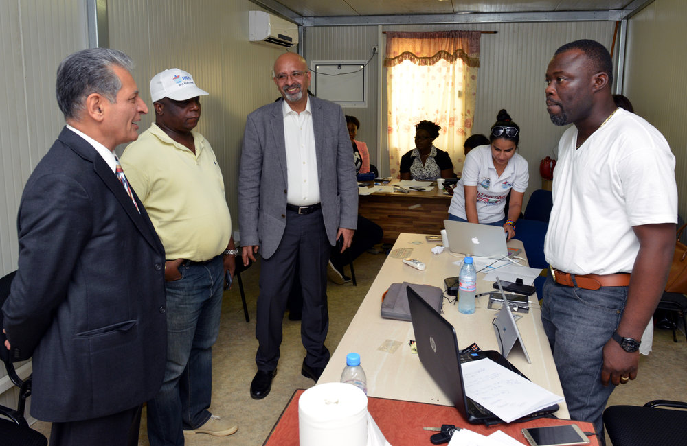 26 December 2017, Presidential Runoff Election Special Representative of the Secretary-General (SRSG) Farid Zarif accompanied by Commissioner Jonathan K. Weedor visiting National Election Commission (NEC) situation room. ©UNMIL Photo: Shpend Berbatovci