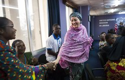 22 March 2018. Monrovia: (Center) The United Nations Deputy Secretary General,  Amina J. Mohammed, greets representatives of Liberian youth and women organizations at the UNMIL headquarters in Monrovia, Liberia.. Amina J. Mohammed is visiting the country to attend the celebrations of the completion of the UNMIL Mandate. Photo by Albert Gonzalez Farran - UNMIL