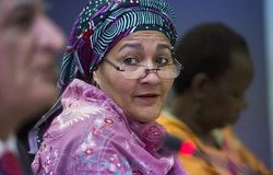 22 March 2018. Monrovia: The United Nations Deputy Secretary General,  Amina J. Mohammed, meets representatives of Liberian youth and women organizations at the UNMIL headquarters in Monrovia, Liberia.. Amina J. Mohammed is visiting the country to attend the celebrations of the completion of the UNMIL Mandate. Photo by Albert Gonzalez Farran - UNMIL