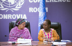 22 March 2018. Monrovia: (Left to right) The United Nations Deputy Secretary General, Amina J. Mohammed, and the Assistant Secretary-General for Peacekeeping Operations, Bintou Keita, talk during a meeting with representatives of Liberian youth and women organizations at the UNMIL headquarters in Monrovia, Liberia.. Amina J. Mohammed is visiting the country to attend the celebrations of the completion of the UNMIL Mandate. Photo by Albert Gonzalez Farran - UNMIL